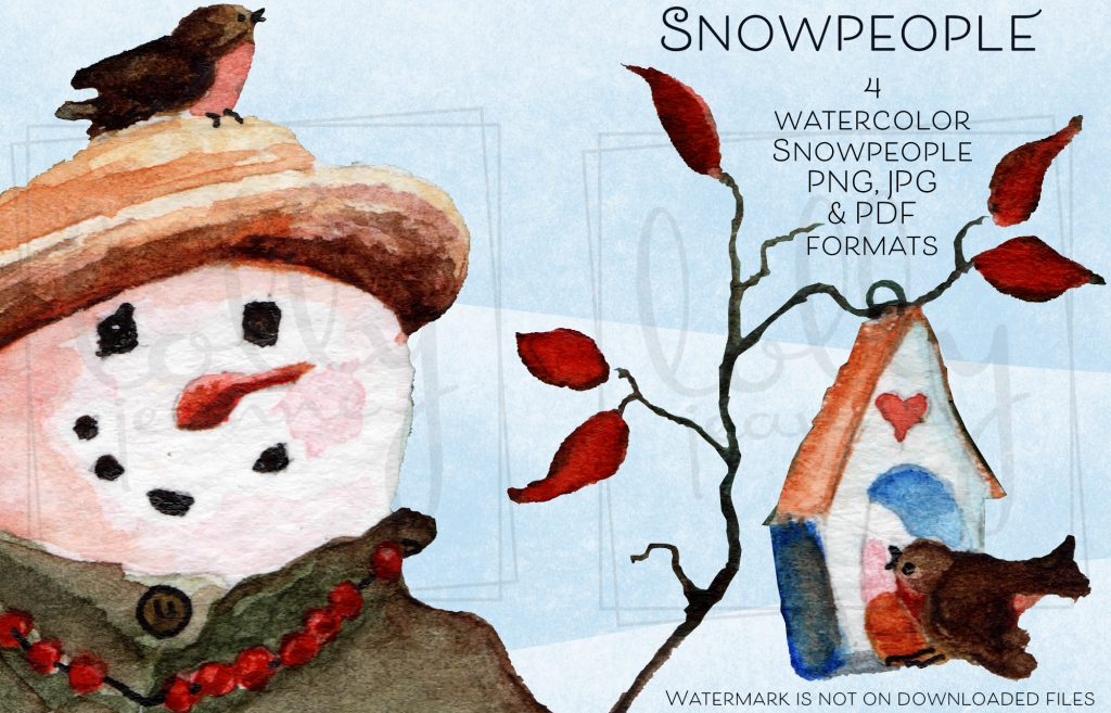 Snow People: PNG Watercolor Clip Art Design Resource