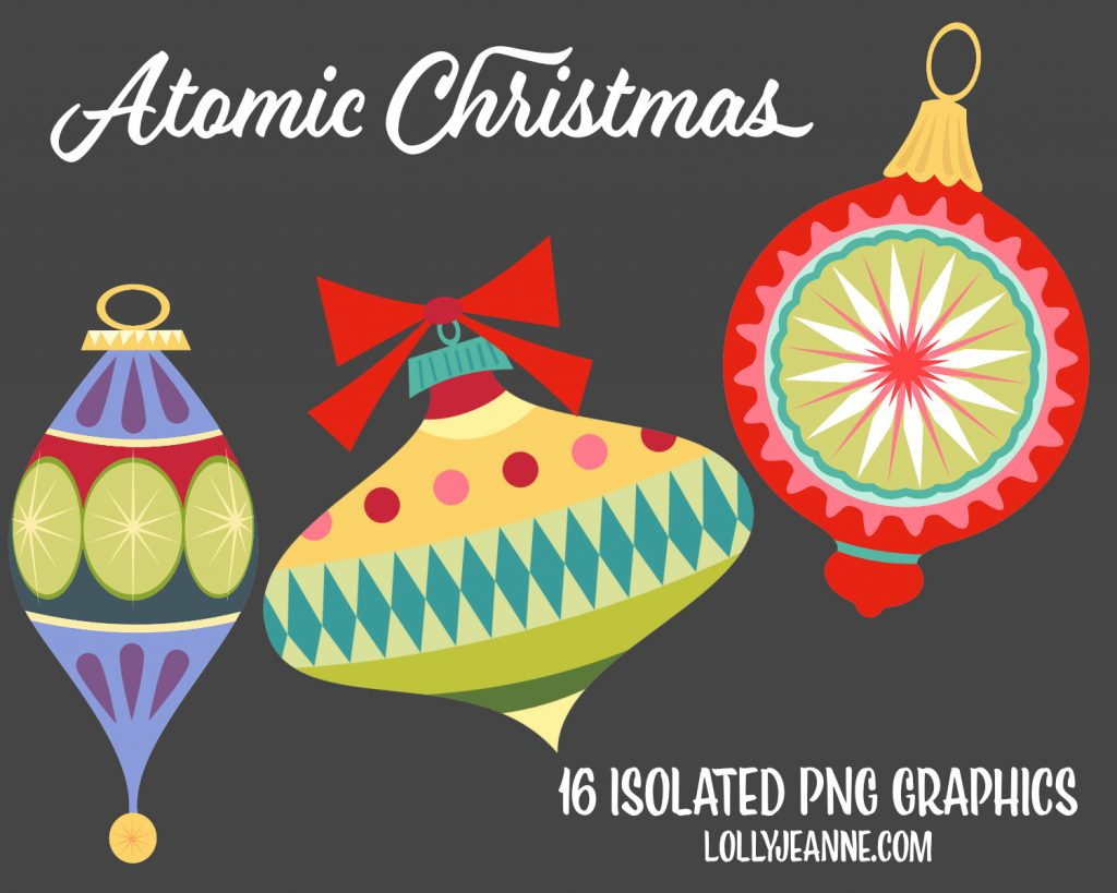 Atomic Christmas: PNG Illustration Clip Art Set