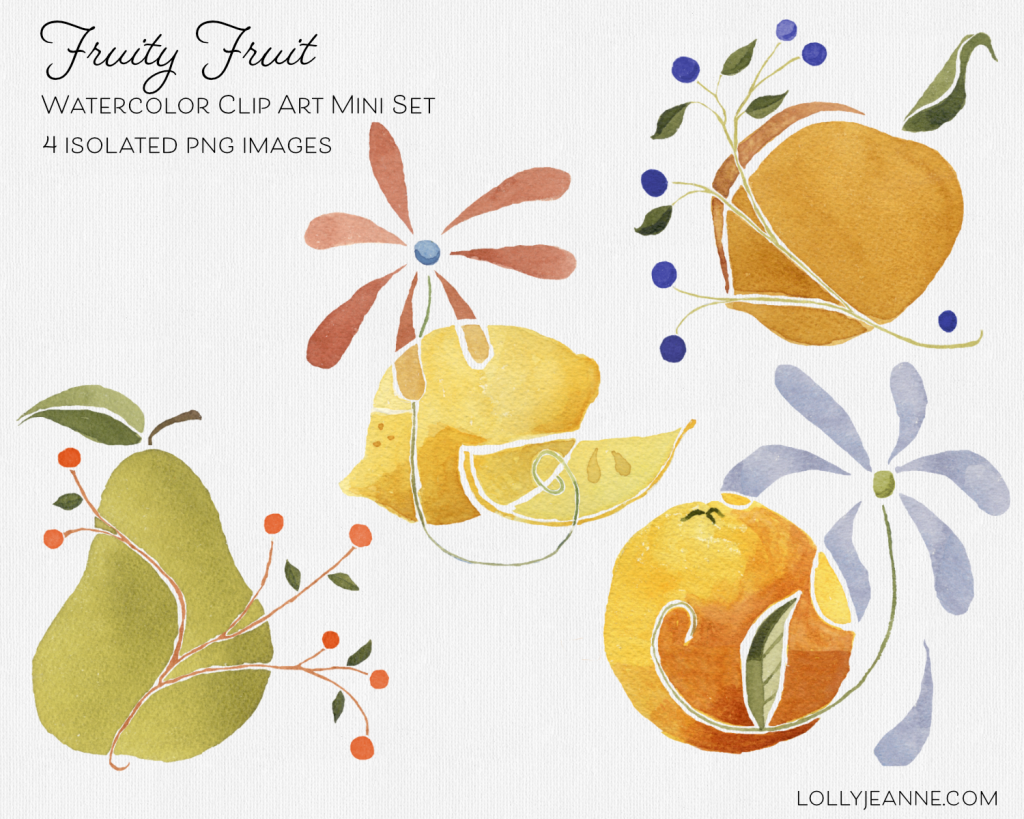 Fruity Fruit: PNG Watercolor Mini Set Design Resource