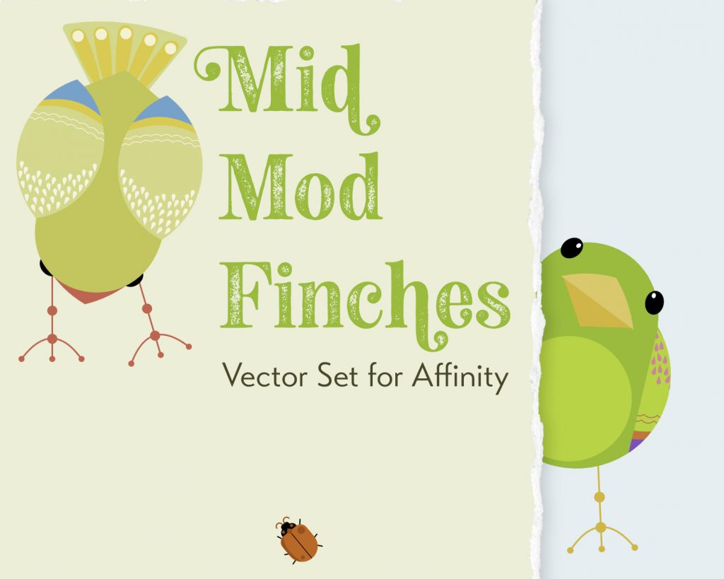 Mid Mod Finches vector set for Affinity Designer