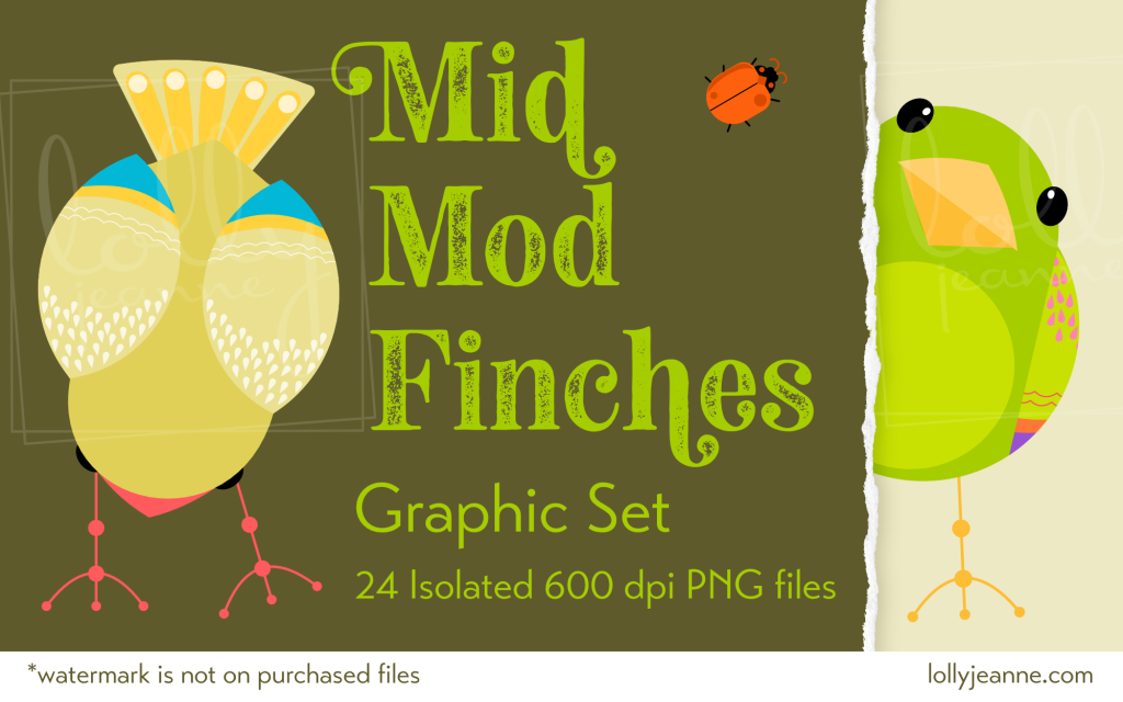 Mid-Mod Finches: PNG Illustration Clip Art Set