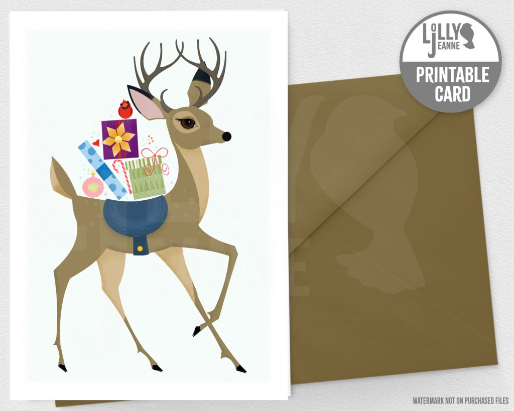 Stag Bearing Gifts: Printable Christmas Greeting Card