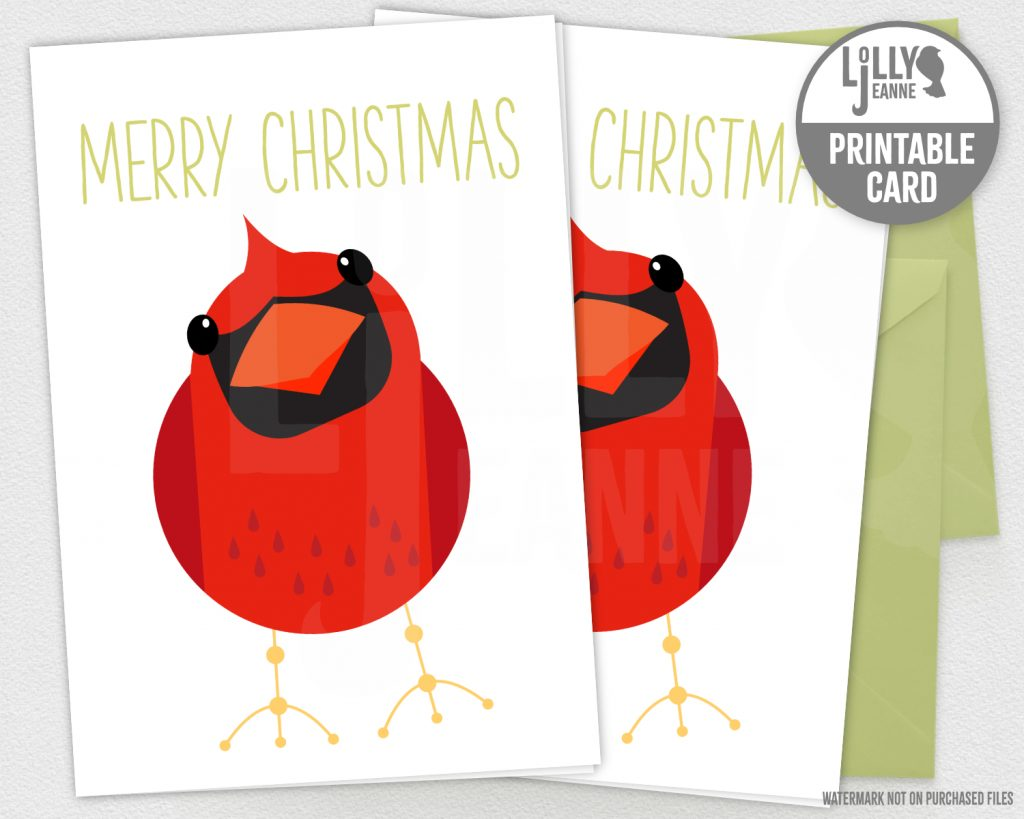 Merry Little Cardinal: Printable Christmas Greeting Card