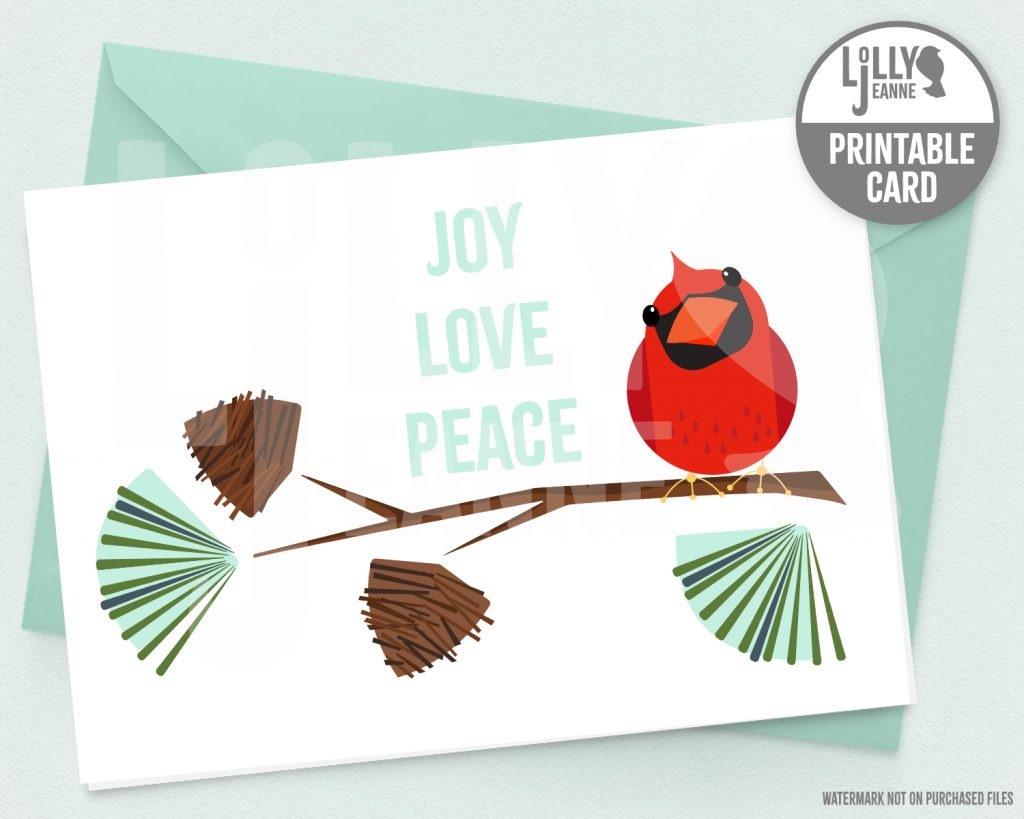 Cardinal Joy Love Peace: Printable Holiday Greeting Card