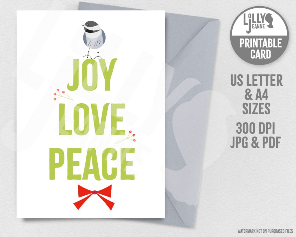 Chickadee Joy Love Peace: Printable Holiday Greeting Card