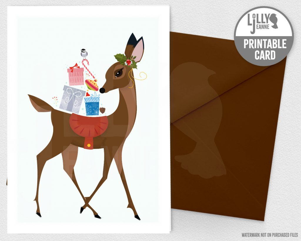 Festive Doe: Printable Christmas Greeting Card