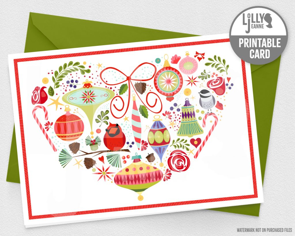 Folksy Holiday Heart: Printable Christmas Greeting Card