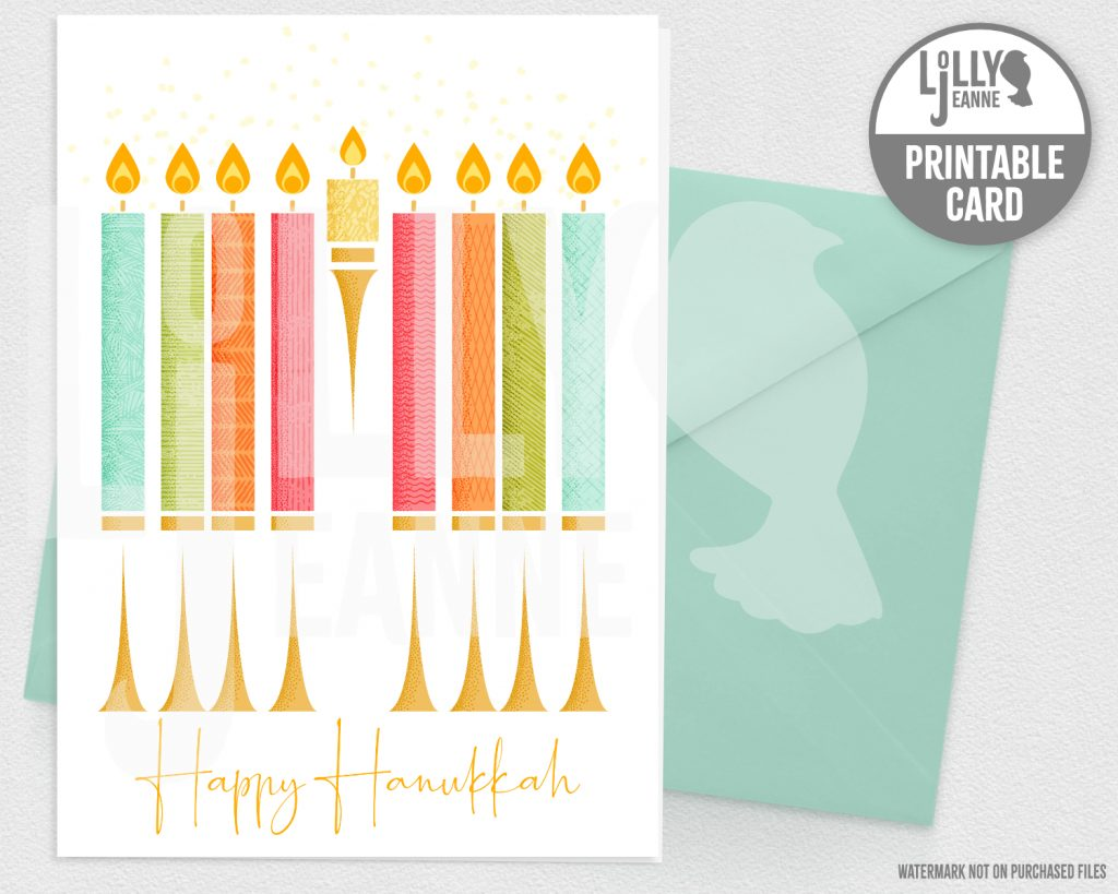 Hanukkah Menorah: Printable Holiday Greeting Card