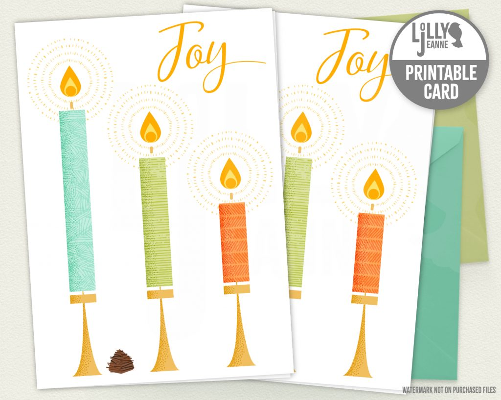 Tiny Candles Joy: Printable Holiday Greeting Card