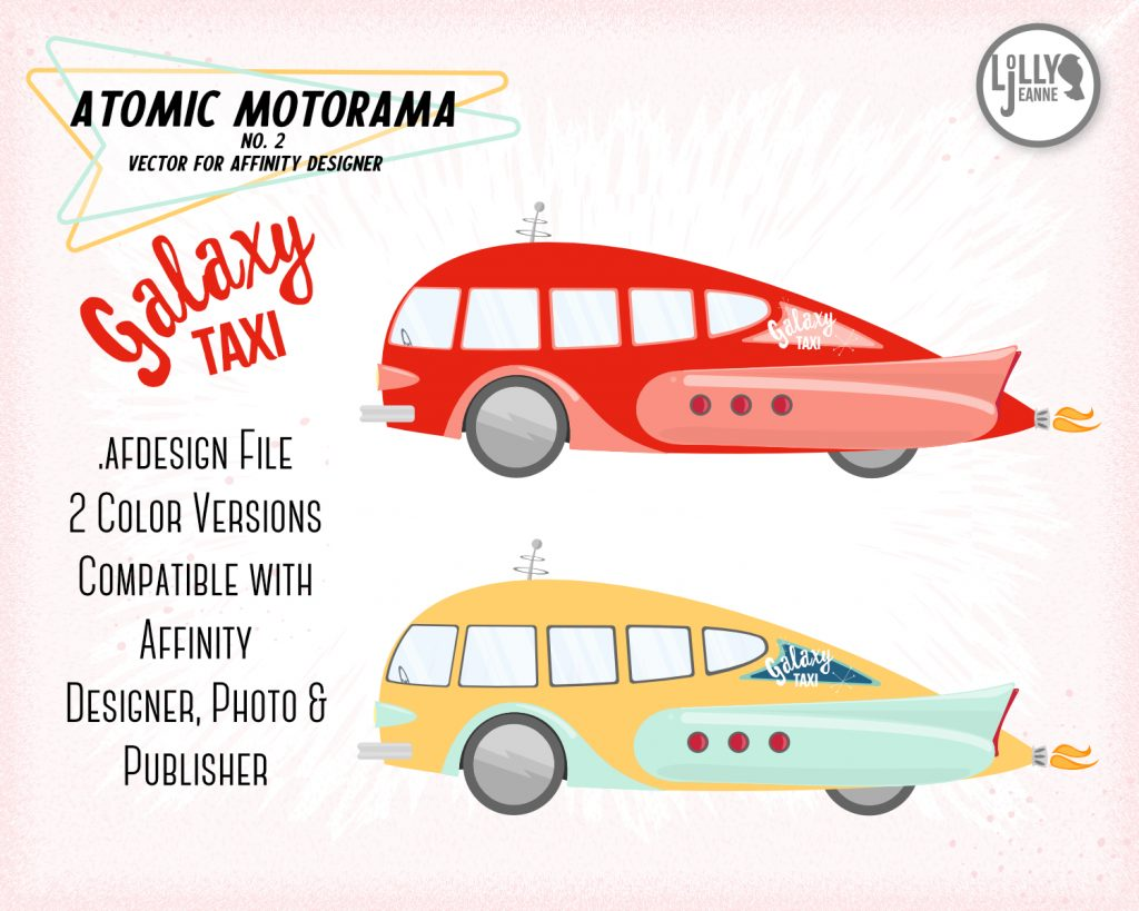 Vector Atomic Bus for Affinity Designer: Galaxy Taxi
