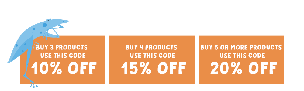 Coupon Codes 10% OFF Buy 3 products and get 10% off your total purchase 15% OFF Buy 4 products and get 15% off your total purchase 20% OFF Buy 5 or more products and get 20% off your total purchase