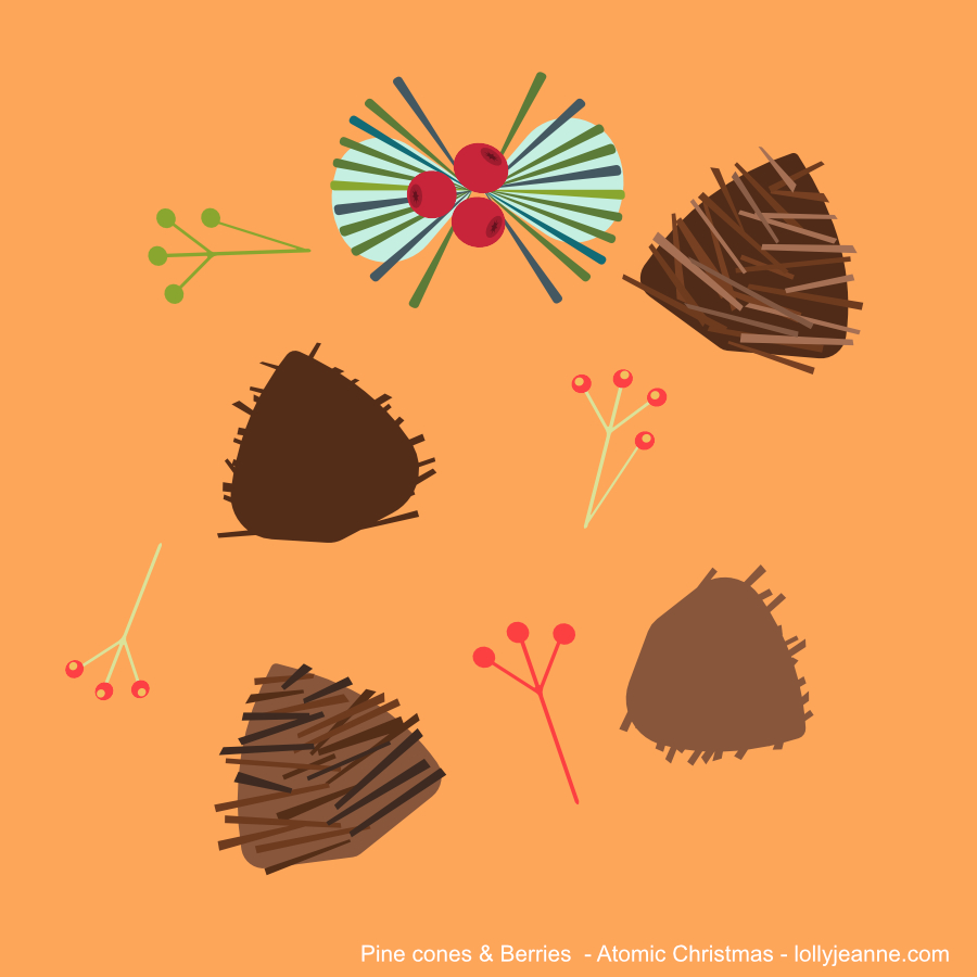 Vector Ornament Pinecones and Berries Atomic Christmas