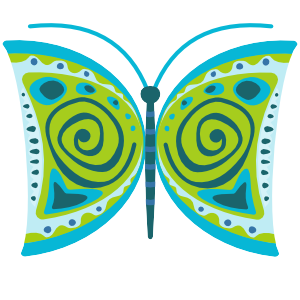 Mid Mod Finches: Butterfly 3 Vector