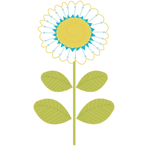 Mid Mod Finches: Flower 1 Vector